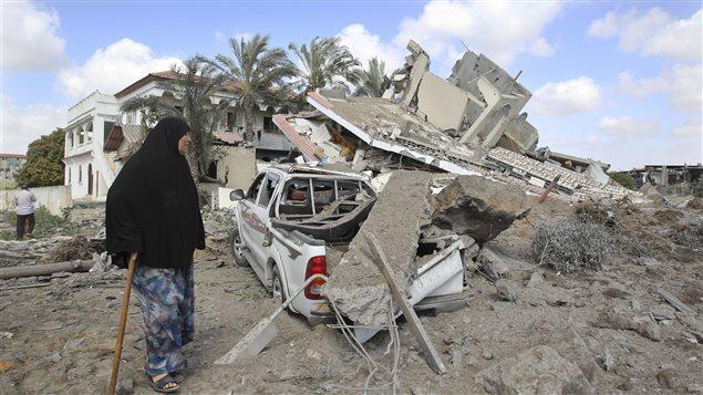 Une maison à Gaza détruite par un raid israélien, selon la police.