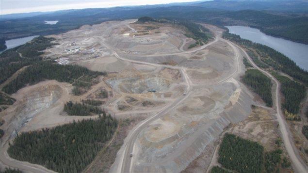 Une vue aérienne de la mine du Mont Polley près de Likely en Colombie-Britannique.