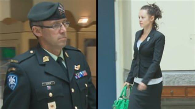 L'adjudant André Gagnon et la plaignante, Stéphanie Raymond