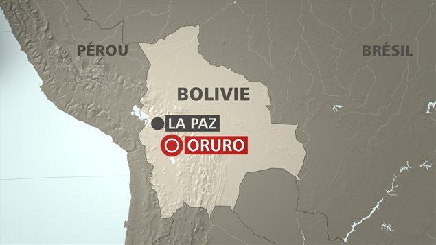 La ville d'Oruro est située à un peu moins de 300 km au sud de La Paz, la capitale de la Bolivie.