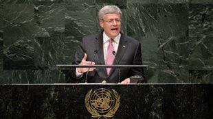 Stephen Harper devant l'Assemblée générale des Nations unies.
