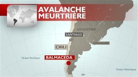 Carte de l'endroit où s'est produit l'avalanche meutrière