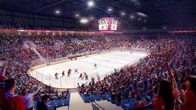 Un match de hockey dans la futur Place Bell de Laval.