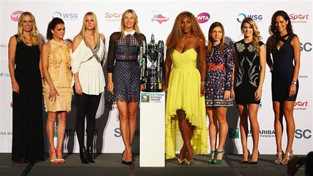 Caroline Wozniacki, Agnieszka Radwanska, Petra Kvitova, Maria Sharapova, Serena Williams, Simona Halep, Eugenie Bouchard et Ana Ivanovic