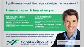 Jean-François Fortin lance le parti Forces et Démocratie