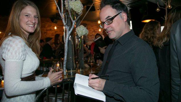 Les auteurs Geneviève Jannelle et Stéphane Dompierre au lancement du recueil de nouvelles érotiques «Nu» (Québec Amérique).