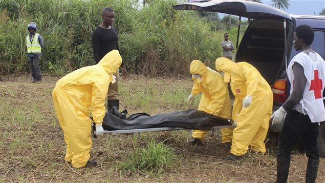 Des travailleurs de la santé transportent le coprs d'une autre victime du virus.