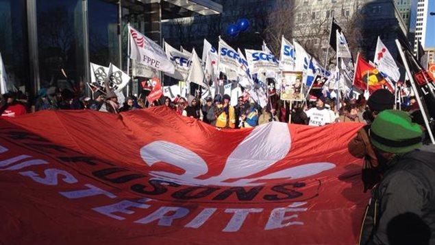 Manifestation contre l'austérité à Montréal.