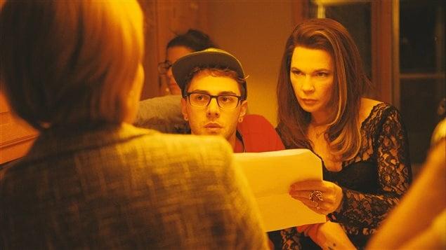 Suzanne Clément, Xavier Dolan et Anne Dorval lors du tournage de <i>Mommy</i>