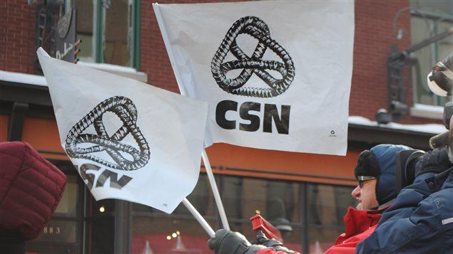 Les manifestants de la CSN se sont fait entendre ce midi