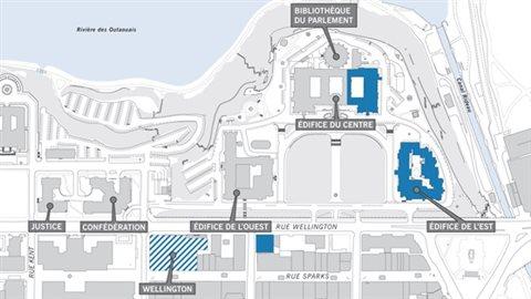 Un plan des édifices de la Cité parlementaire.