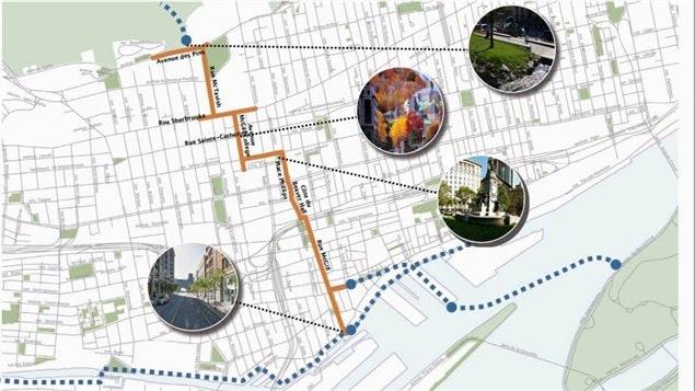 Le tracé de la promenade urbaine qui sera aménagée pour souligner le 375e anniversaire de Montréal
