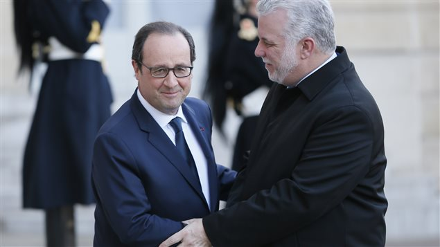 Philippe Couillard et François Hollande à Paris