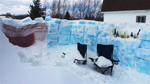Un fort de neige à Pointe-Sapin au Nouveau-Brunswick
