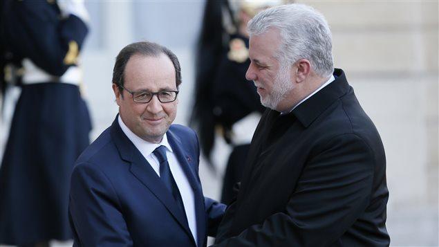 Philippe Couillard reçu à l'Élysée par le président François Hollande, 2 mars 2015
