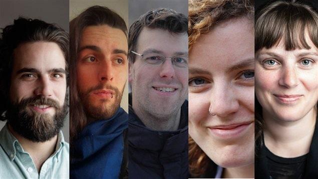 Les 5 finalistes du Prix de la nouvelle Radio-Canada 2015 : Francis Asselin, Julien Beauseigle-Laniel, Jancimon Reid, Kiev Renaud et Annie-Claude Thériault.
