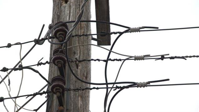Un poteau acceuillant un branchement aérien d'électricité
