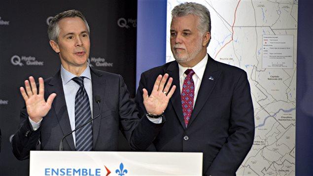 Le président d'Hydro-Québec, Thierry Vandal, en compagnie du premier ministre du Québec, Philippe Couillard