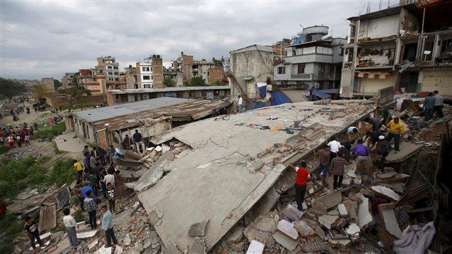 Un secteur de Katmandou, au Népal, dévasté par le tremblement de terre le 25 avril.