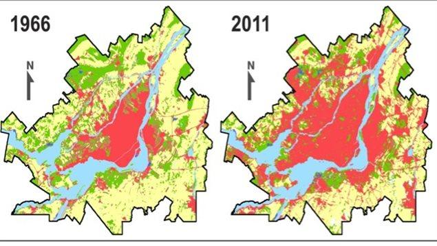 Le milieu urbain (en rouge) s'est étendu dans la région de Montréal aux dépens des forêts (en vert) et des terres agricoles (en jaune)