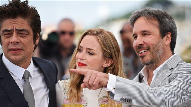 Benicio Del Toro, Emily Blunt et Denis Villeneuve à Cannes