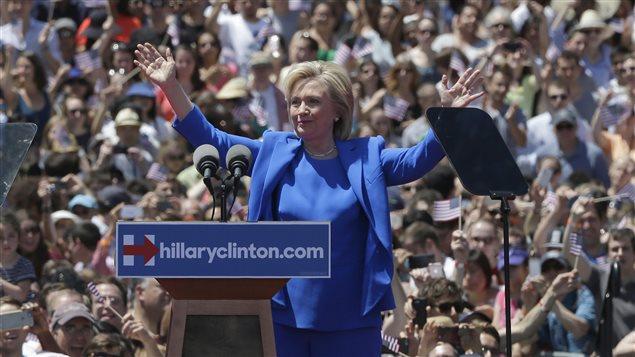 Hillary Clinton, lors de son premier rassemblement de campagne, le samedi 13 juin.