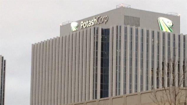 La tour de Potash Corp au centre-ville de Saskatoon.