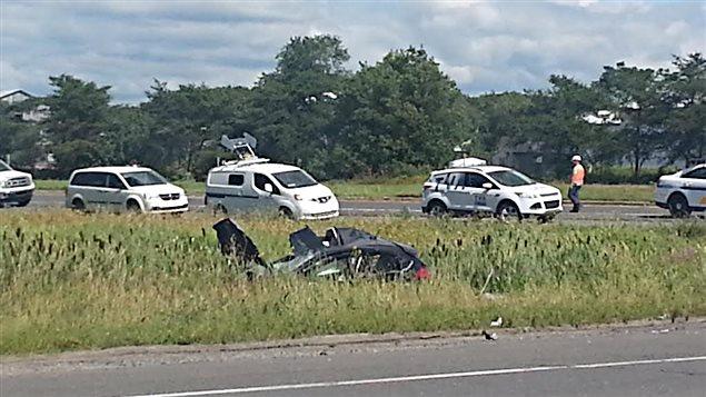 Une collision entre un véhicule lourd et une voiture  est survenue sur la route 279 à Beaumont, près de Lévis.