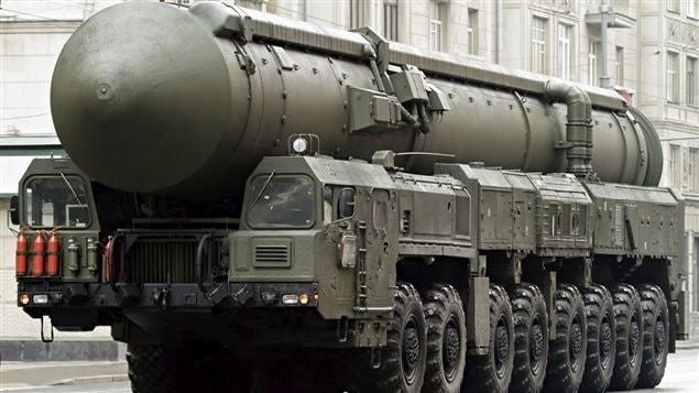 Armement nucléaire lors d'une parade militaire à Moscou en 2005.