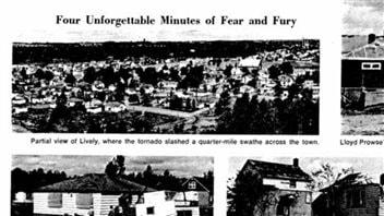 Extrait du journal interne Inco Triangle le mois suivant la tornade, 1970