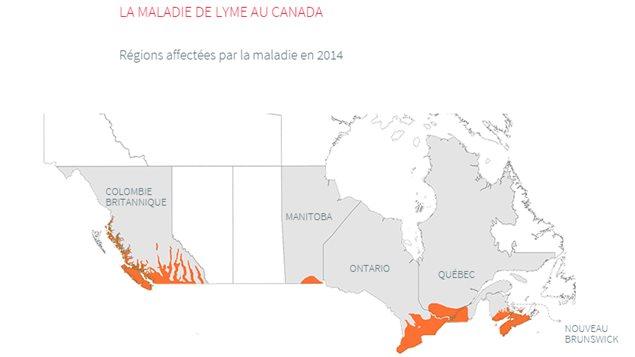 Carte des régions affectées par la maladie de Lyme (2014)