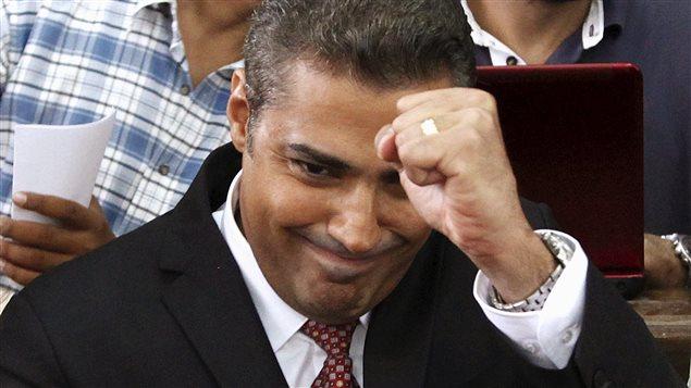 Mohamed Fahmy lors de son deuxième procès en août 2015