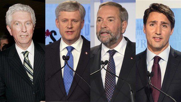 Gilles Duceppe, Stephen Harper, Thomas Mulcair et Justin Trudeau
