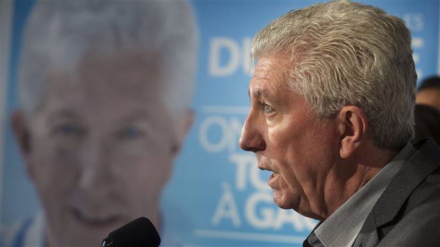 Gilles Duceppe en point de presse à Montréal