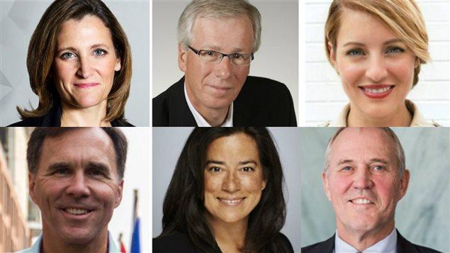 De gauche à droite et de haut en bas: Chrystia Freeland, Stéphane Dion, Mélanie Joly, Bill Blair, Jody Wilson-Raybould et Bill Morneau