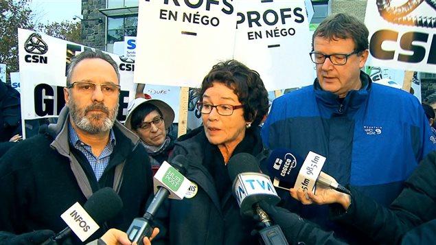 Le président de la FTQ Daniel Boyer et la présidente de la CSQ Louise Chabot et le président de la CSN Jacques Létourneau