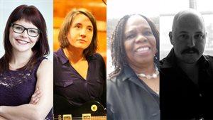 Sonia Lamontagne, Myriam Gendron, Marie-Soeurette Mathieu et Simon Dumas ont effectué la présélection des textes pour le Prix de poésie Radio-Canada 2015