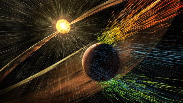 Des vents solaires soufflent sur Mars.