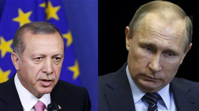 Les présidents turc et russe Recep Tayyip Erdogan (gauche) et Vladimir Poutine (droite)