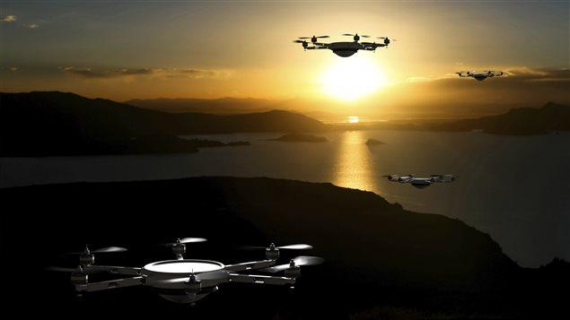 Des drones en vol.