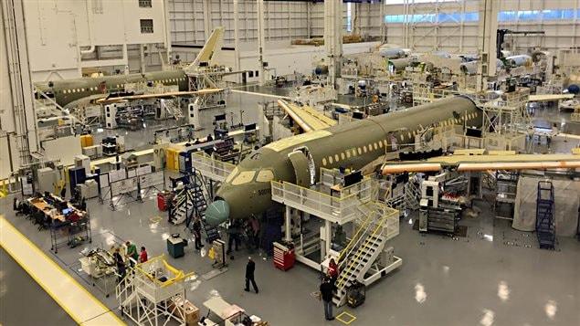 Assemblage de la C Series de Bombardier à Mirabel