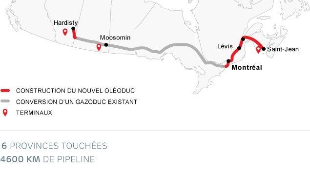 La carte de l'oléoduc Énergie-Est.