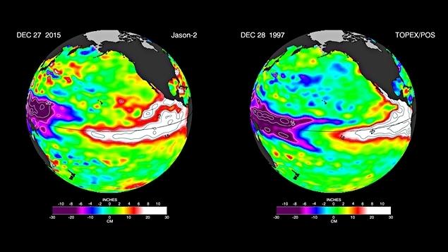 La comparaison entre le phénomène El Nino de 2015 (gauche) et celui de 1998 (droite).