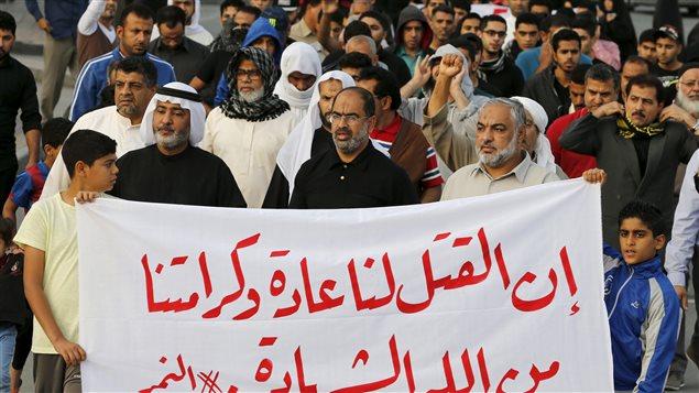 Manifestation à Bahreïn après l'exécution de 47 personnes, dont le cheikh chiite Nimr al-Nimr, en Arabie saoudite
