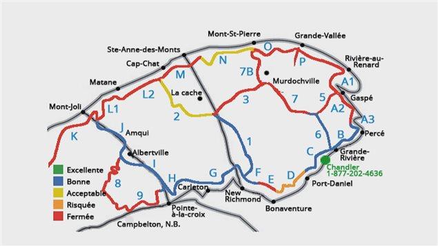 Un aperçu des sentiers de motoneige en Gaspésie en date du 4 janvier 2016
