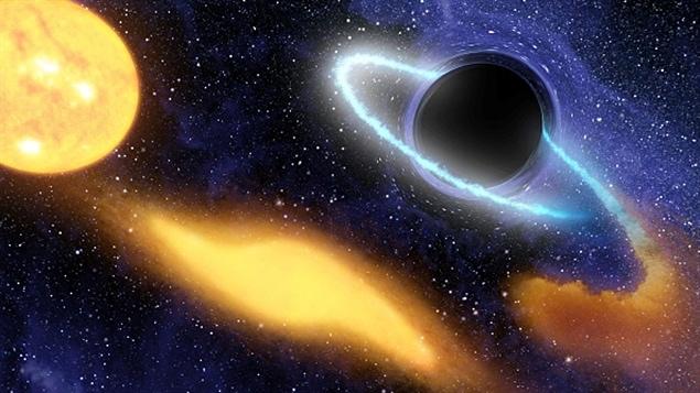 Un trou noir au centre d'une galaxie.
