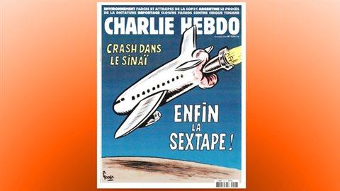 La une de «Charlie Hebdo» du 10 novembre 2015 faisait référence à l'avion russe abattu au-dessus du Sinaï par le groupe armé État islamique. Des porte-parole du gouvernement russe ont jugé le dessin scandaleux.
