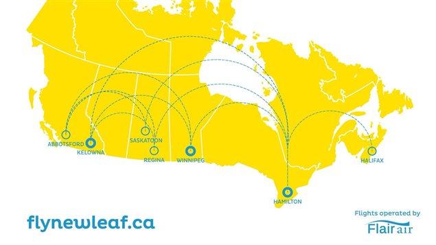 La feuille de route de la compagnie aérienne NewLeaf Travel Company.