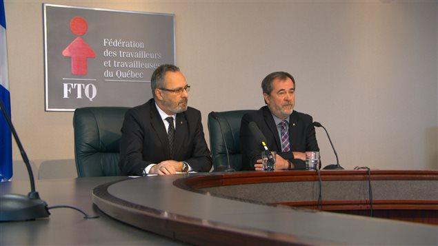 Daniel Boyer et Serge Cadieux de la FTQ