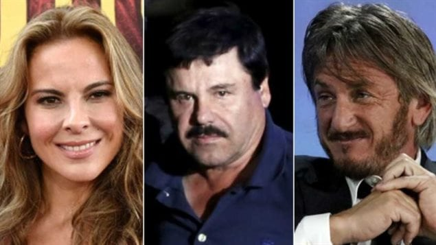 De gauche à droite : Kate del Castillo, Joaquin « El Chapo » Guzman et Sean Penn